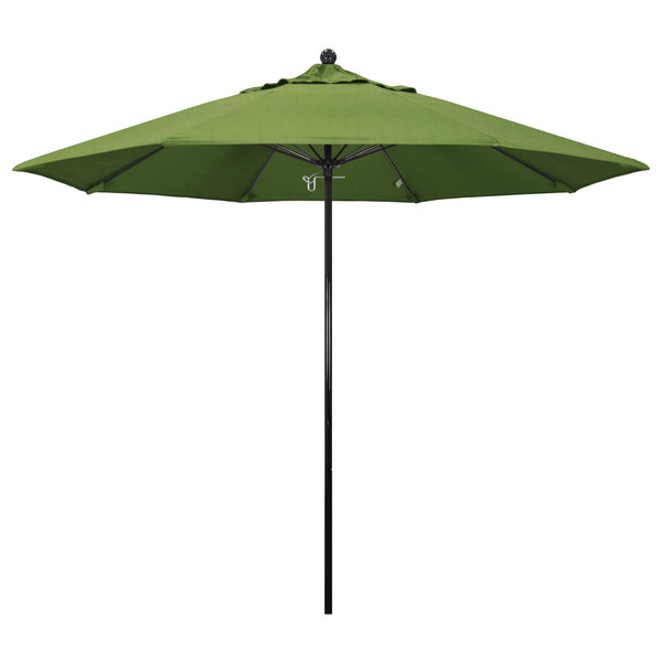 "Spectrum Cilantro Fabric California Umbrella EFFO 908 SUNBRELLA 1A Oceanside Customizable 9' Round Push Lift Umbrella with 1 1/2"" Fiberglass Pole - Sunbrella 1A Canopy"