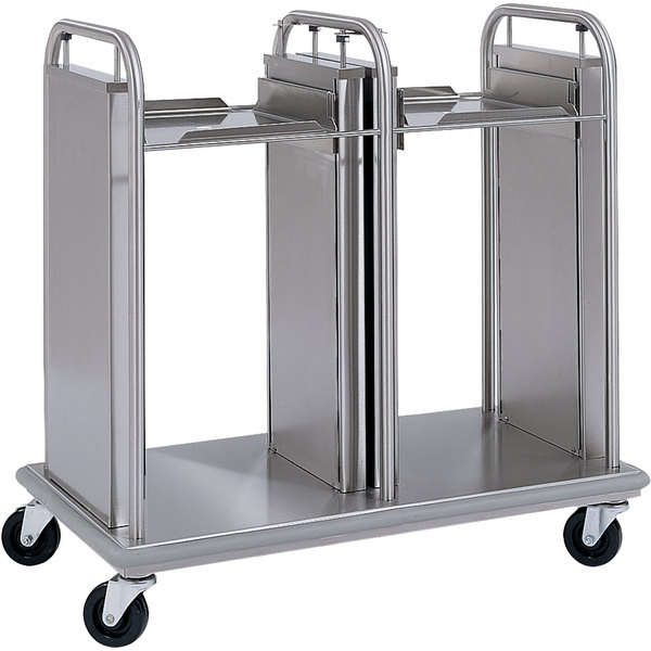 """Delfield TT2-1221 Mobile Open Frame Two Stack Tray Dispenser for 12"""" x 21"""" Food Trays"""
