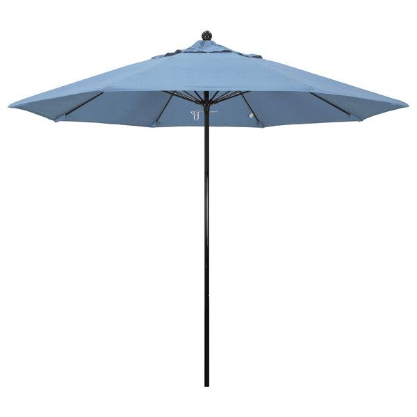 "Air Blue Fabric California Umbrella EFFO 908 SUNBRELLA 1A Oceanside Customizable 9' Round Push Lift Umbrella with 1 1/2"" Fiberglass Pole - Sunbrella 1A Canopy"