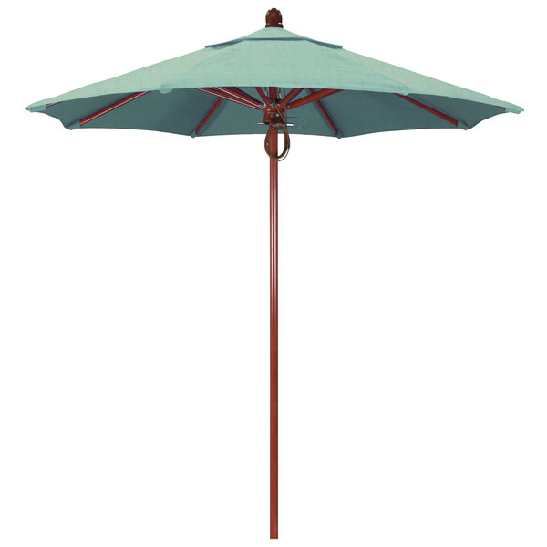 "Spa Fabric California Umbrella FLEX 758 SUNBRELLA 1A Sierra Customizable 7 1/2' Round Pulley Lift Umbrella with 1 1/2"" Red Oak Fiberglass Pole - Sunbrella 1A Canopy"