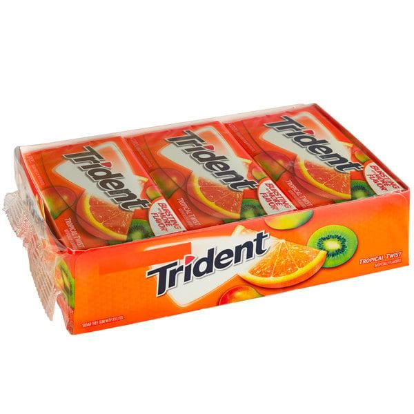 Trident Tropical Twist Sugar-Free Gum 14-Piece Pack - 144/Case Main Image 1
