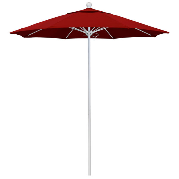 "Jockey Red Fabric California Umbrella ALTO 758 PACIFICA Venture 7 1/2' Round Push Lift Umbrella with 1 1/2"" Matte White Aluminum Pole - Pacifica Canopy"