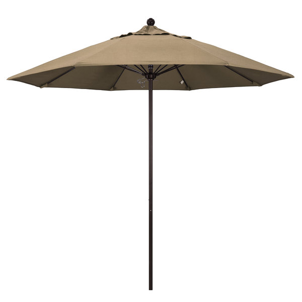 "Heather Beige Fabric California Umbrella ALTO 908 SUNBRELLA 1A Venture Customizable 9' Round Push Lift Umbrella with 1 1/2"" Bronze Aluminum Pole - Sunbrella 1A Canopy"