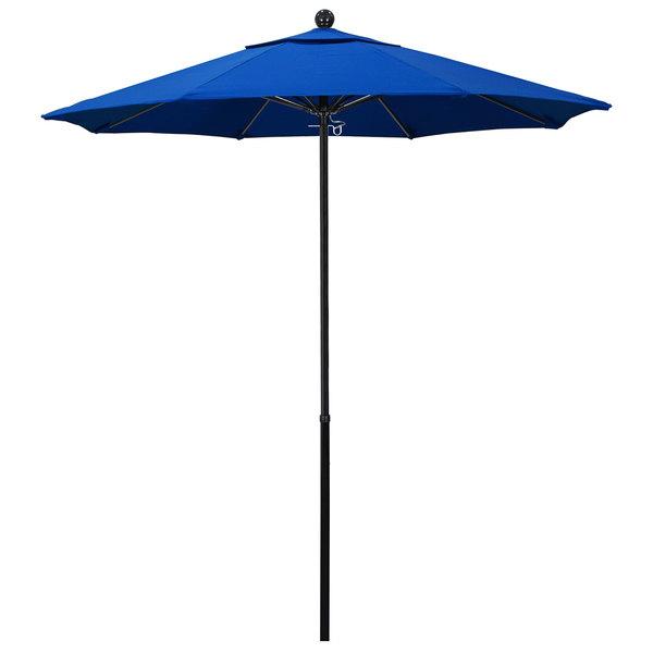 "Royal Blue Fabric California Umbrella EFFO 758 OLEFIN Oceanside 7 1/2' Round Push Lift Umbrella with 1 1/2"" Fiberglass Pole - Olefin Canopy"