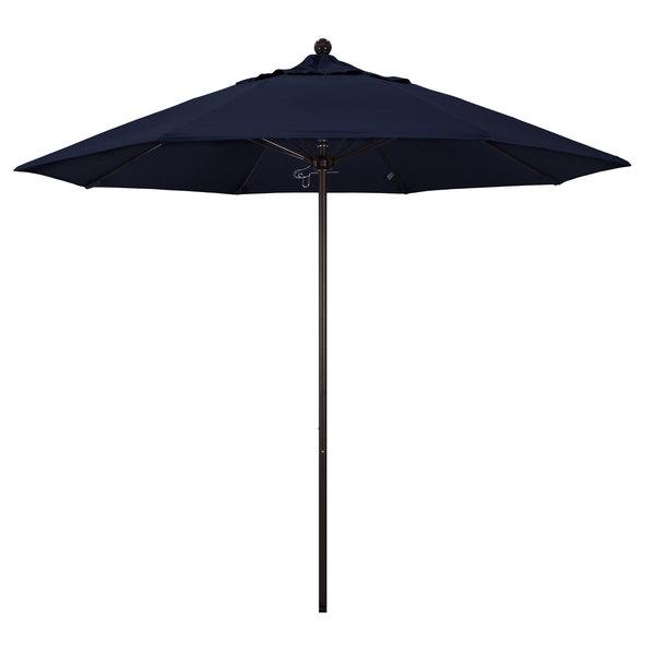 "Navy Fabric California Umbrella ALTO 908 OLEFIN Venture 9' Round Push Lift Umbrella with 1 1/2"" Bronze Aluminum Pole - Olefin Canopy"