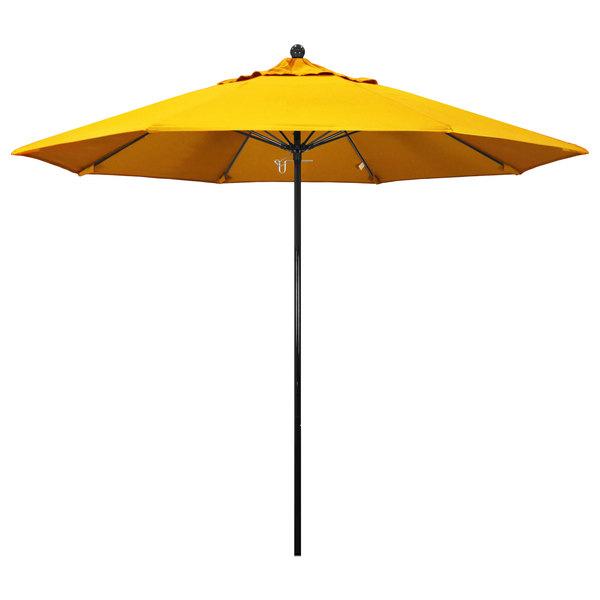 "Sunflower Yellow Fabric California Umbrella EFFO 908 SUNBRELLA 1A Oceanside Customizable 9' Round Push Lift Umbrella with 1 1/2"" Fiberglass Pole - Sunbrella 1A Canopy"