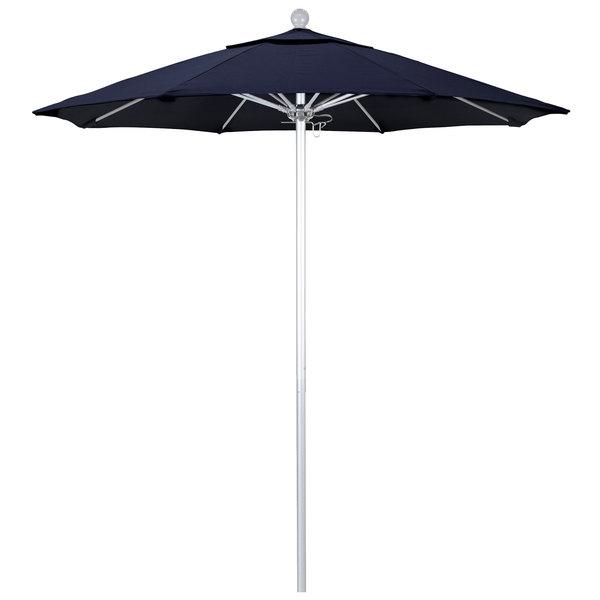 "Navy Fabric California Umbrella ALTO 758 SUNBRELLA 1A Venture Customizable 7 1/2' Round Push Lift Umbrella with 1 1/2"" Silver Anodized Aluminum Pole - Sunbrella 1A Canopy"
