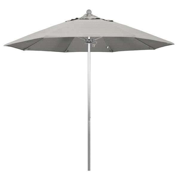 """Granite Fabric California Umbrella ALTO 908 SUNBRELLA 1A Venture Customizable 9' Round Push Lift Umbrella with 1 1/2"""" Silver Anodized Aluminum Pole - Sunbrella 1A Canopy"""