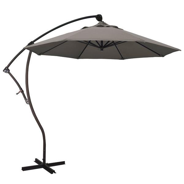 "Taupe Fabric California Umbrella BA908 PACIFICA Bayside 9' Crank Lift Cantilever Umbrella with 2"" Aluminum Pole - Pacifica Canopy"