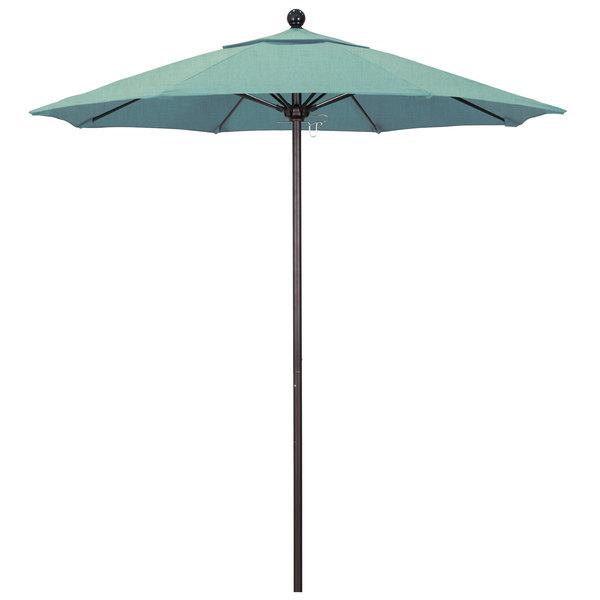 "Spa Fabric California Umbrella ALTO 758 SUNBRELLA 1A Venture Customizable 7 1/2' Round Push Lift Umbrella with 1 1/2"" Bronze Aluminum Pole - Sunbrella 1A Canopy"