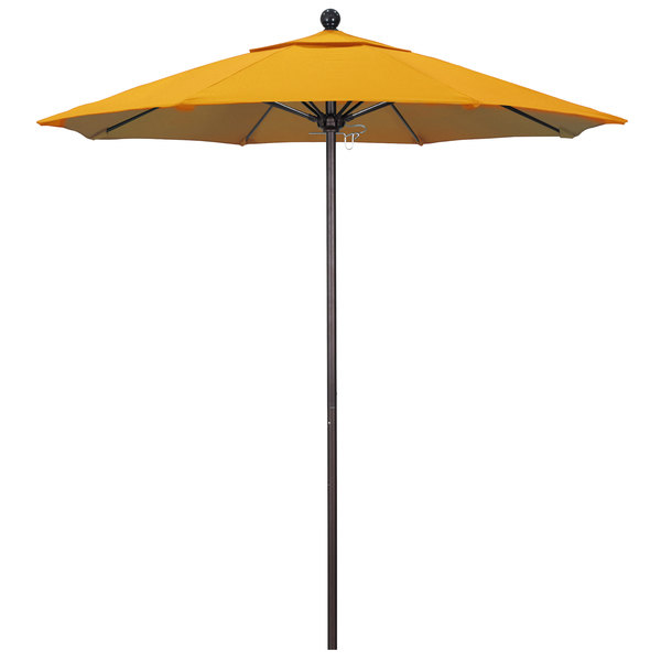 "Lemon Fabric California Umbrella ALTO 758 OLEFIN Venture 7 1/2' Round Push Lift Umbrella with 1 1/2"" Bronze Aluminum Pole - Olefin Canopy"