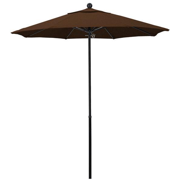 "Teak Fabric California Umbrella EFFO 758 OLEFIN Oceanside 7 1/2' Round Push Lift Umbrella with 1 1/2"" Fiberglass Pole - Olefin Canopy"