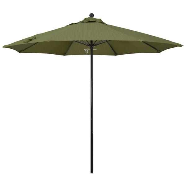 "Terrace Fern Fabric California Umbrella EFFO 908 OLEFIN Oceanside 9' Round Push Lift Umbrella with 1 1/2"" Fiberglass Pole - Olefin Canopy"