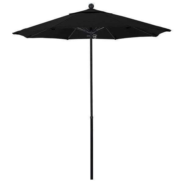 "Black Fabric California Umbrella EFFO 758 SUNBRELLA 1A Oceanside Customizable 7 1/2' Round Push Lift Umbrella with 1 1/2"" Fiberglass Pole - Sunbrella 1A Canopy"