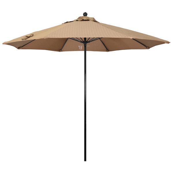 "Terrace Sequoia Fabric California Umbrella EFFO 908 OLEFIN Oceanside 9' Round Push Lift Umbrella with 1 1/2"" Fiberglass Pole - Olefin Canopy"