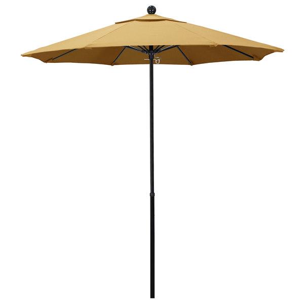 "Wheat Fabric California Umbrella EFFO 758 SUNBRELLA 1A Oceanside Customizable 7 1/2' Round Push Lift Umbrella with 1 1/2"" Fiberglass Pole - Sunbrella 1A Canopy"