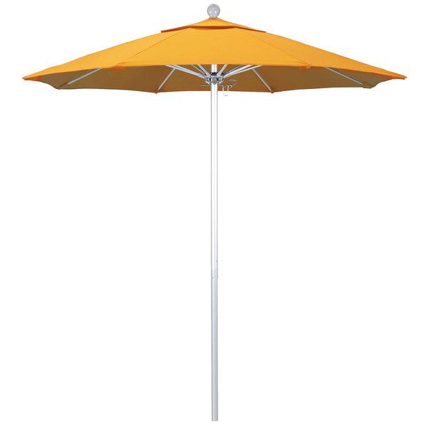 """Yellow Fabric California Umbrella ALTO 758 PACIFICA Venture 7 1/2' Round Push Lift Umbrella with 1 1/2"""" Silver Anodized Aluminum Pole - Pacifica Canopy"""