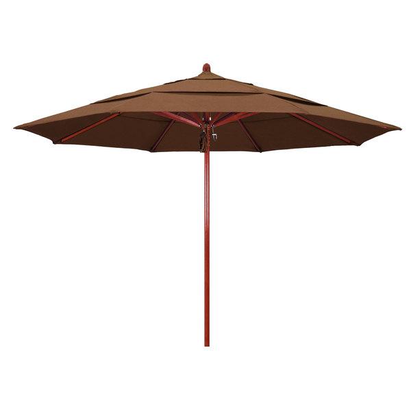"Teak Fabric California Umbrella FLEX 118 SUNBRELLA 1A Sierra 11' Round Pulley Lift Umbrella with 2"" Red Oak Fiberglass Pole - Sunbrella 1A Canopy"