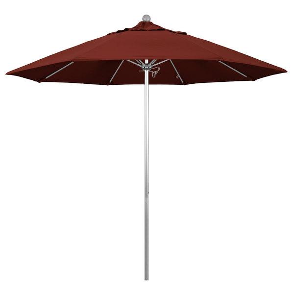 """Henna Fabric California Umbrella ALTO 908 SUNBRELLA 2A Venture 9' Round Push Lift Umbrella with 1 1/2"""" Silver Anodized Aluminum Pole - Sunbrella 2A Canopy"""