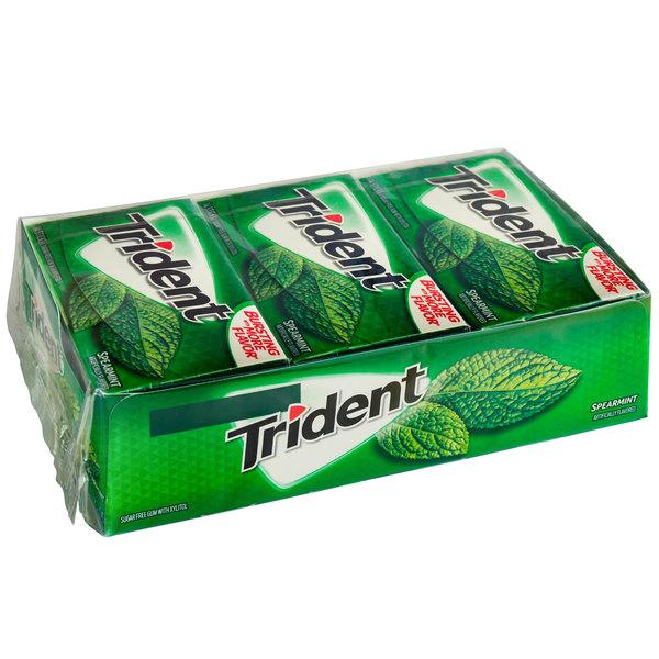 Trident Spearmint Sugar-Free Gum 14-Piece Pack - 144/Case Main Image 1