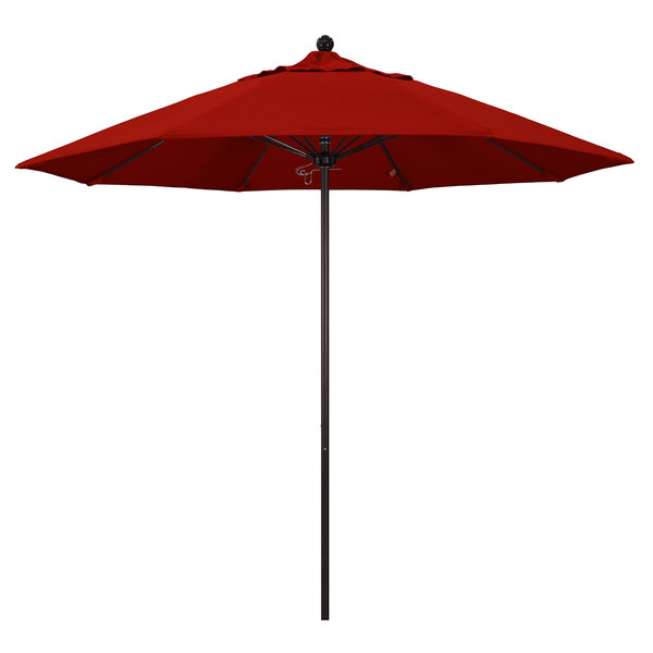 "Jockey Red Fabric California Umbrella ALTO 908 SUNBRELLA 2A Venture 9' Round Push Lift Umbrella with 1 1/2"" Bronze Aluminum Pole - Sunbrella 2A Canopy"