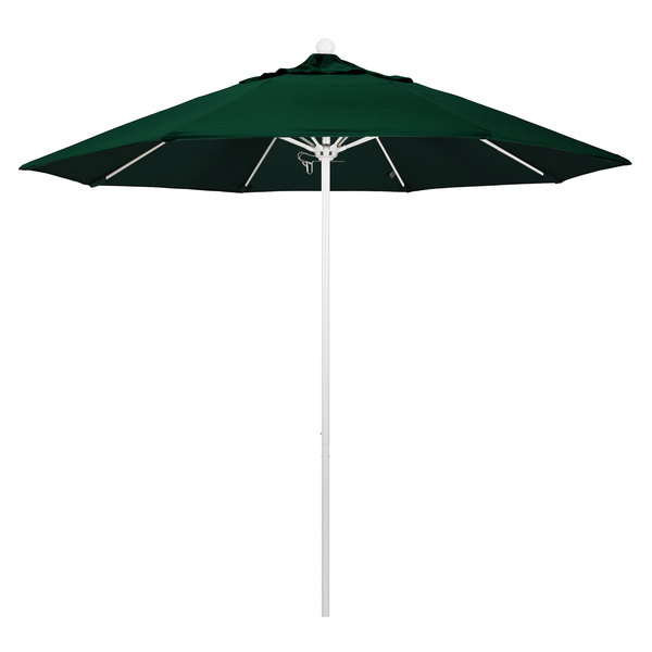 "Hunter Green Fabric California Umbrella ALTO 908 OLEFIN Venture 9' Round Push Lift Umbrella with 1 1/2"" Matte White Aluminum Pole - Olefin Canopy"