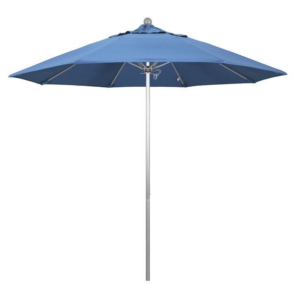 """Frost Blue Fabric California Umbrella ALTO 908 OLEFIN Venture 9' Round Push Lift Umbrella with 1 1/2"""" Silver Anodized Aluminum Pole - Olefin Canopy"""