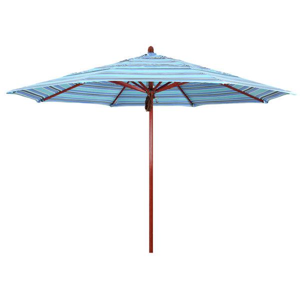 "Dolce Oasis Fabric California Umbrella FLEX 118 SUNBRELLA 1A Sierra 11' Round Pulley Lift Umbrella with 2"" Red Oak Fiberglass Pole - Sunbrella 1A Canopy"