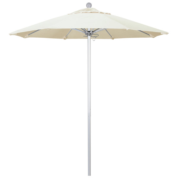 "Canvas Fabric California Umbrella ALTO 758 SUNBRELLA 1A Venture Customizable 7 1/2' Round Push Lift Umbrella with 1 1/2"" Silver Anodized Aluminum Pole - Sunbrella 1A Canopy"