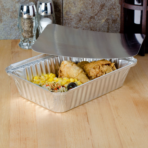 2 1/4 lb. Rectangular Foil Pan with Board Lid - 250/Case