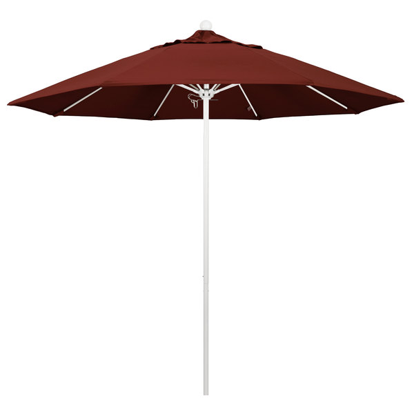 "Henna Fabric California Umbrella ALTO 908 SUNBRELLA 2A Venture 9' Round Push Lift Umbrella with 1 1/2"" Matte White Aluminum Pole - Sunbrella 2A Canopy"