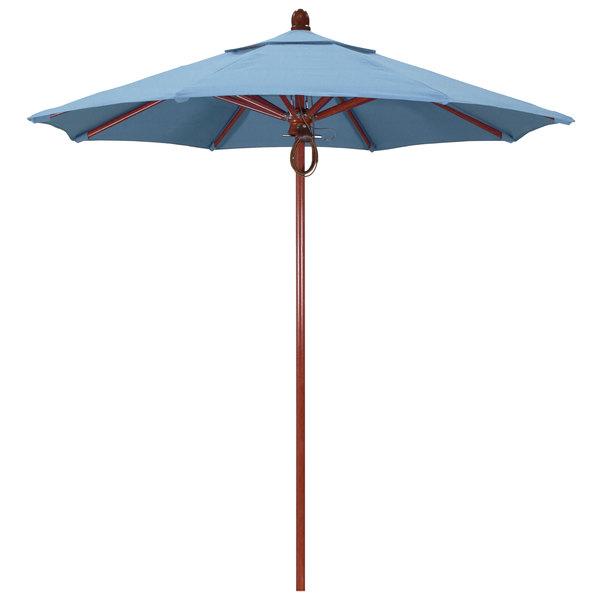 "Air Blue Fabric California Umbrella FLEX 758 SUNBRELLA 1A Sierra Customizable 7 1/2' Round Pulley Lift Umbrella with 1 1/2"" Red Oak Fiberglass Pole - Sunbrella 1A Canopy"
