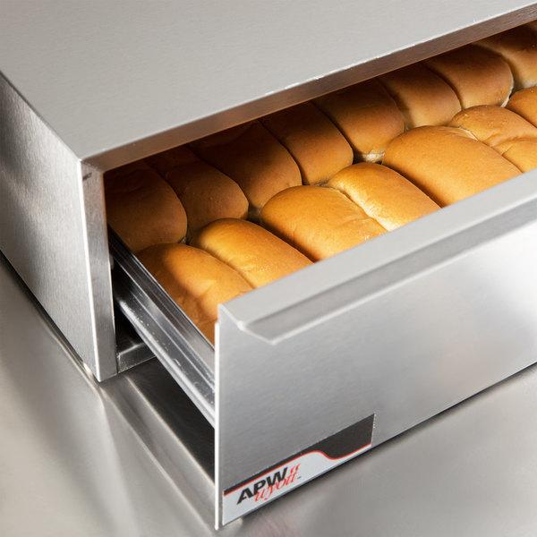 APW Wyott BWD-75N Dry Hot Dog Bun Warmer for HR-75 Series Hot Dog Roller Grills - Holds 32 Buns, 208V