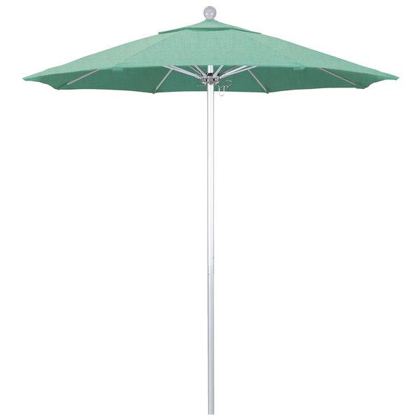 "Spectrum Mist Fabric California Umbrella ALTO 758 SUNBRELLA 1A Venture Customizable 7 1/2' Round Push Lift Umbrella with 1 1/2"" Silver Anodized Aluminum Pole - Sunbrella 1A Canopy"