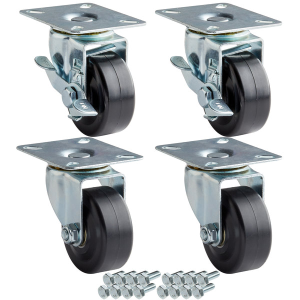 "Avantco 178A3PCKIT4 3"" Swivel Plate Casters with Mounting Hardware - 4/Set Main Image 1"