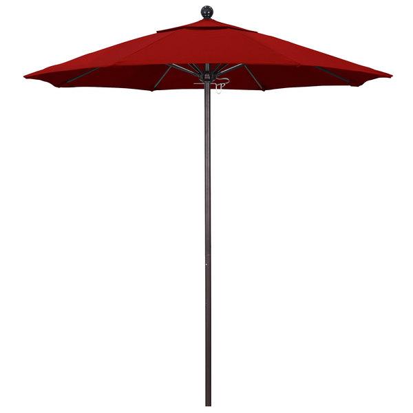 "Jockey Red Fabric California Umbrella ALTO 758 PACIFICA Venture 7 1/2' Round Push Lift Umbrella with 1 1/2"" Bronze Aluminum Pole - Pacifica Canopy"