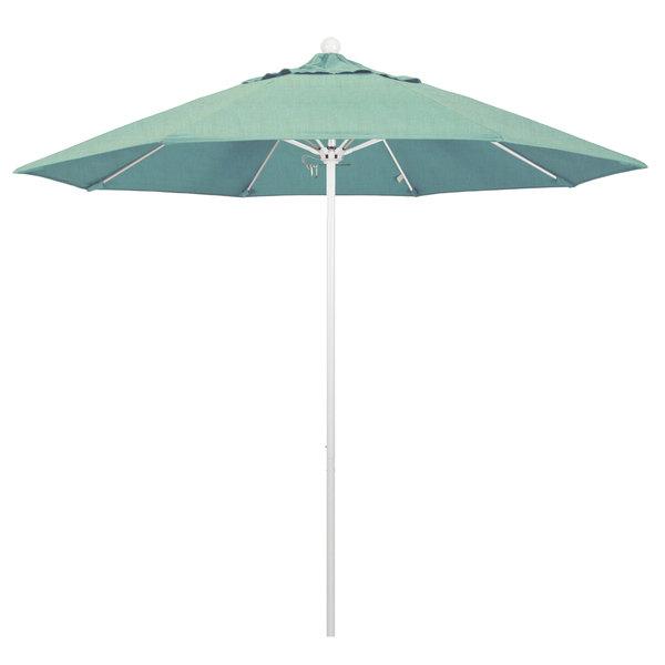 """Spa Fabric California Umbrella ALTO 908 SUNBRELLA 1A Venture 9' Round Push Lift Umbrella with 1 1/2"""" Matte White Aluminum Pole - Sunbrella 1A Canopy"""