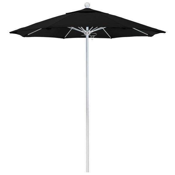 "Black Fabric California Umbrella ALTO 758 OLEFIN Venture 7 1/2' Round Push Lift Umbrella with 1 1/2"" Matte White Aluminum Pole - Olefin Canopy"