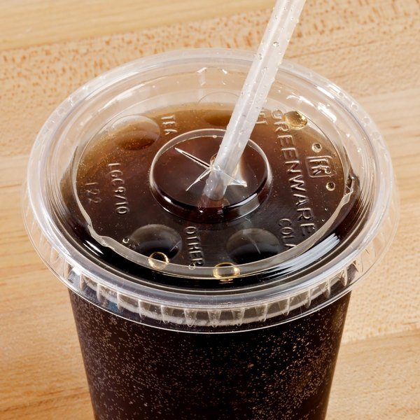 Fabri-Kal LGC9/10 Greenware Compostable Clear Plastic Lid with Straw Slot - 100/Pack