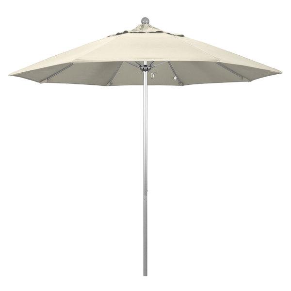"Beige Fabric California Umbrella ALTO 908 OLEFIN Venture 9' Round Push Lift Umbrella with 1 1/2"" Silver Anodized Aluminum Pole - Olefin Canopy"