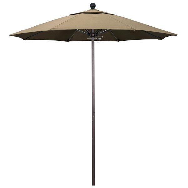 "Heather Beige Fabric California Umbrella ALTO 758 SUNBRELLA 1A Venture Customizable 7 1/2' Round Push Lift Umbrella with 1 1/2"" Bronze Aluminum Pole - Sunbrella 1A Canopy"