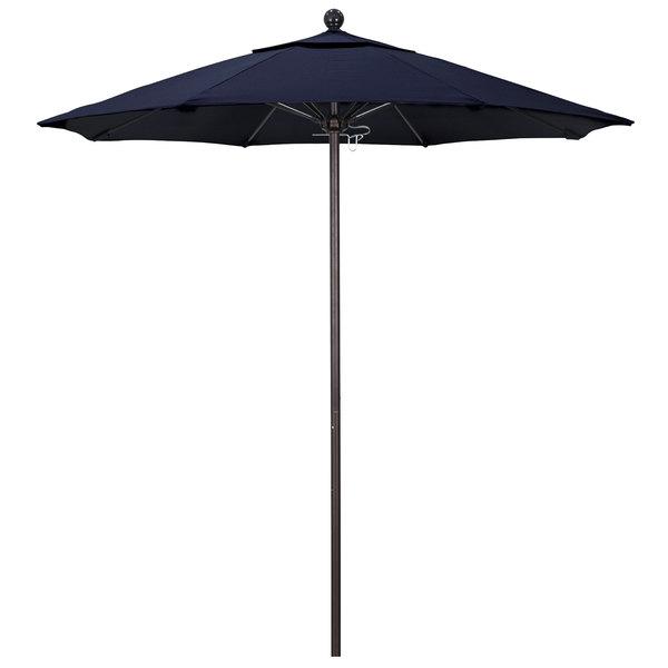 "Navy Fabric California Umbrella ALTO 758 OLEFIN Venture 7 1/2' Round Push Lift Umbrella with 1 1/2"" Bronze Aluminum Pole - Olefin Canopy"