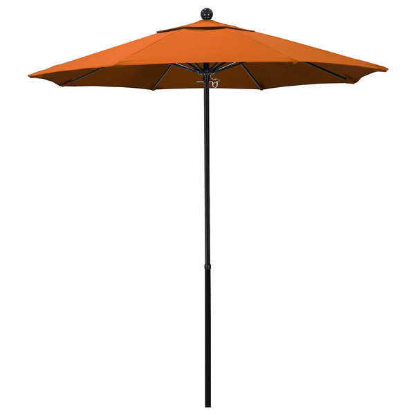 "Tuscan Fabric California Umbrella EFFO 758 PACIFICA Oceanside 7 1/2' Round Push Lift Umbrella with 1 1/2"" Fiberglass Pole - Pacifica Canopy"