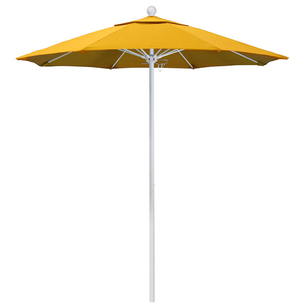"Sunflower Yellow Fabric California Umbrella ALTO 758 SUNBRELLA 1A Venture Customizable 7 1/2' Round Push Lift Umbrella with 1 1/2"" Matte White Aluminum Pole - Sunbrella 1A Canopy"