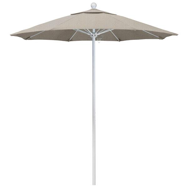 """Woven Granite Fabric California Umbrella ALTO 758 OLEFIN Venture 7 1/2' Round Push Lift Umbrella with 1 1/2"""" Matte White Aluminum Pole - Olefin Canopy"""