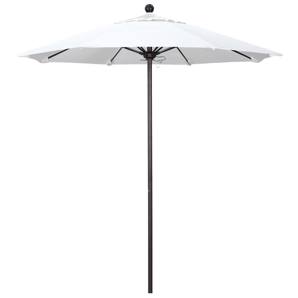 "Natural Fabric California Umbrella ALTO 758 PACIFICA Venture 7 1/2' Round Push Lift Umbrella with 1 1/2"" Bronze Aluminum Pole - Pacifica Canopy"