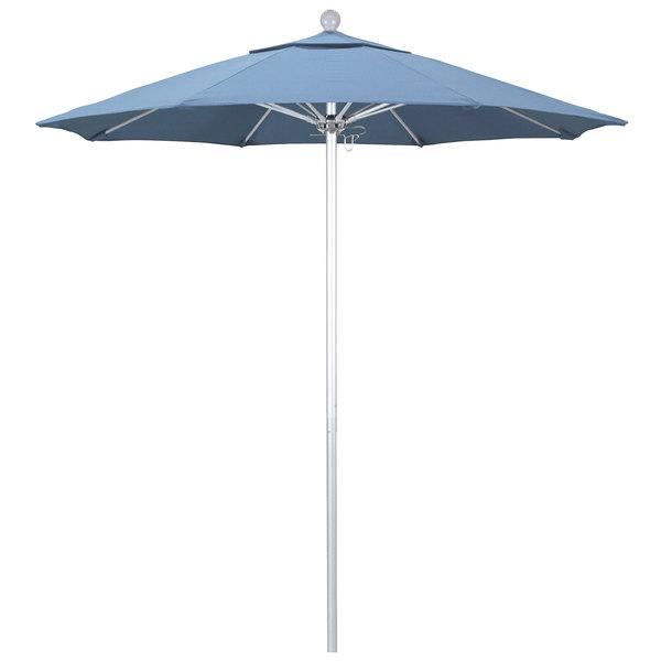 "Air Blue Fabric California Umbrella ALTO 758 SUNBRELLA 1A Venture Customizable 7 1/2' Round Push Lift Umbrella with 1 1/2"" Silver Anodized Aluminum Pole - Sunbrella 1A Canopy"