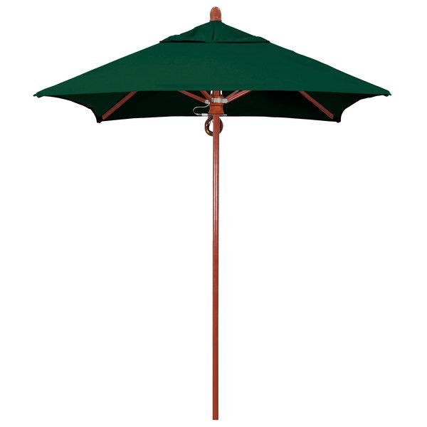 "Forest Green Fabric California Umbrella FLEX 604 SUNBRELLA 1A Sierra Customizable 6' Square Pulley Lift Umbrella with 1 1/2"" Red Oak Fiberglass Pole - Sunbrella 1A Canopy"