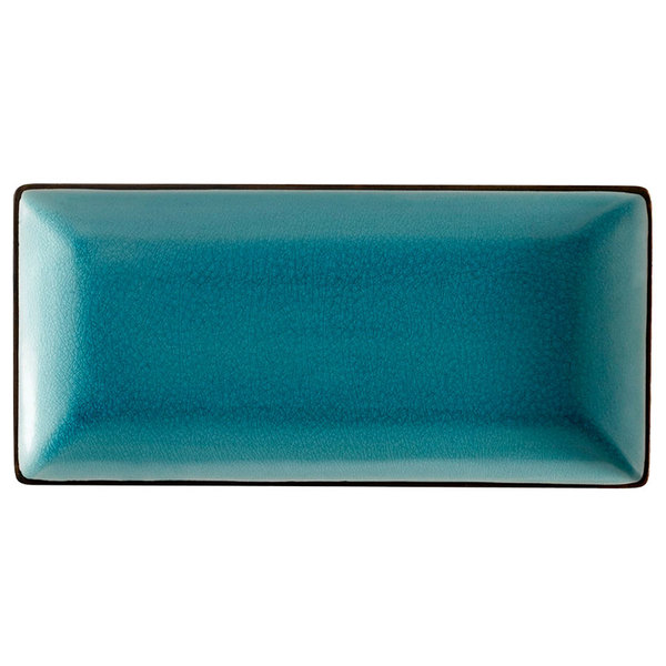 "CAC 666-13-BLU 11 1/2"" x 6 1/2"" Japanese Style Rectangular China Plate - Black Non-Glare Glaze / Lake Water Blue - 12/Case"