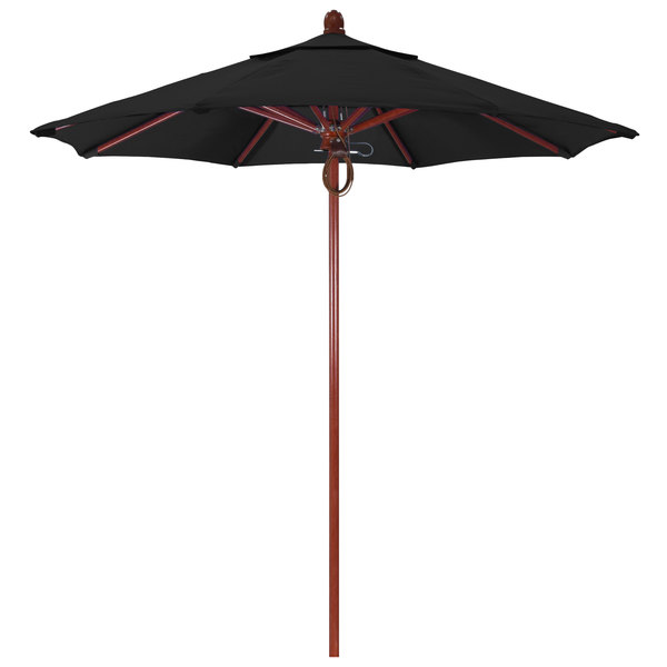 "Black Fabric California Umbrella FLEX 758 SUNBRELLA 1A Sierra Customizable 7 1/2' Round Pulley Lift Umbrella with 1 1/2"" Red Oak Fiberglass Pole - Sunbrella 1A Canopy"